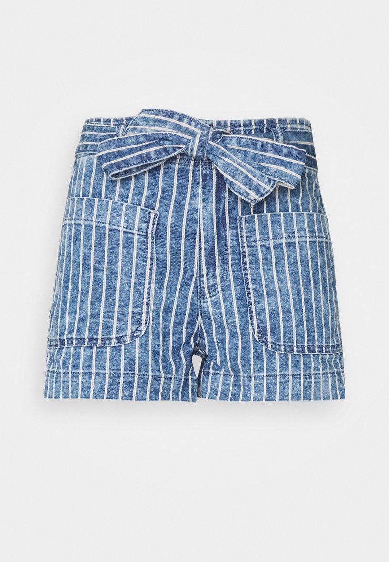 American Eagle - PAPER BAG TIE WAIST - Shorts di jeans - medium wash