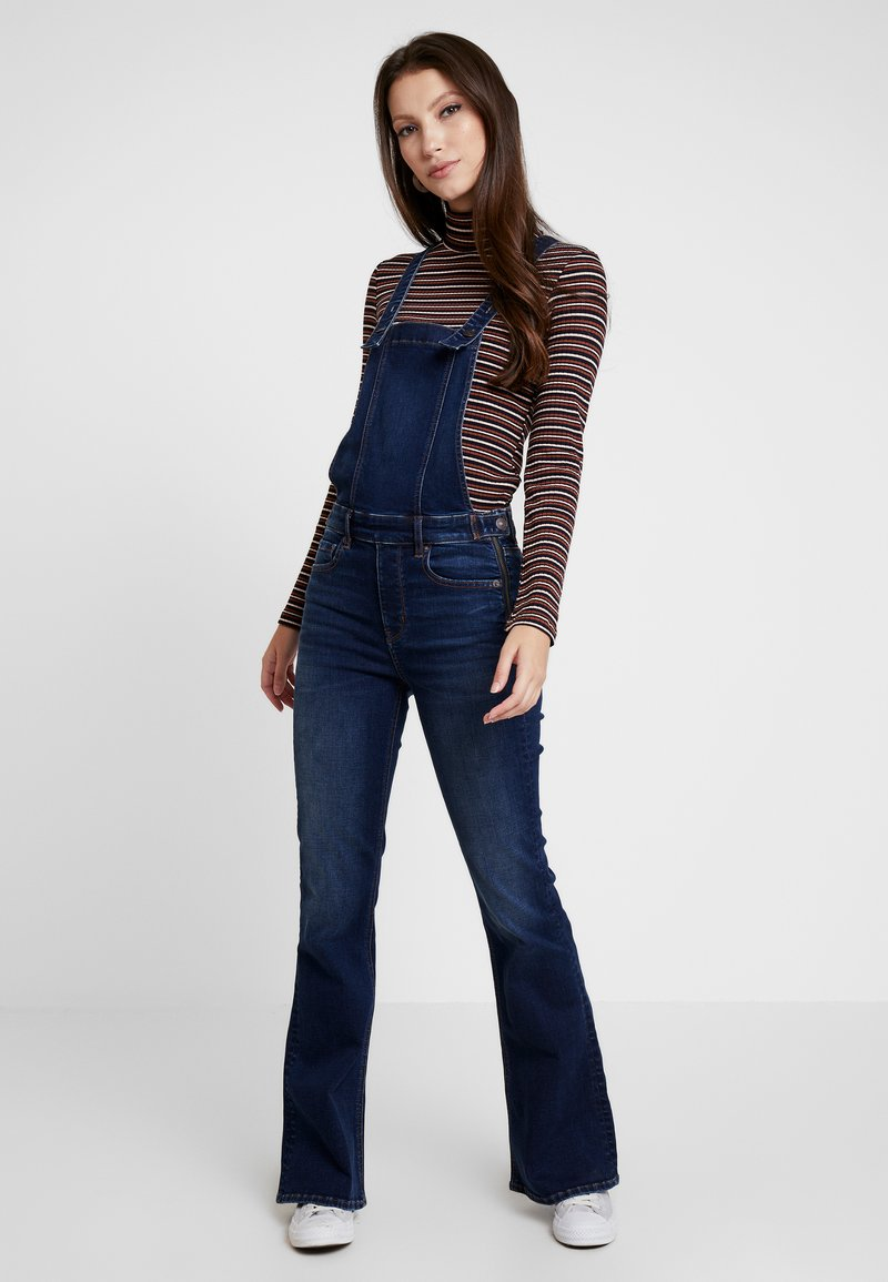 American Eagle - FLARE OVERALL - Dungarees - dark reflections