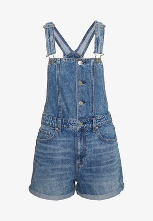 BUTTON FRONT MOM - Tuinbroek - dark acid wash