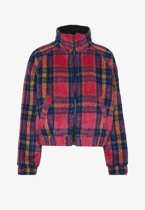 CROPPED PLAID JACKET - Winter jacket - pink