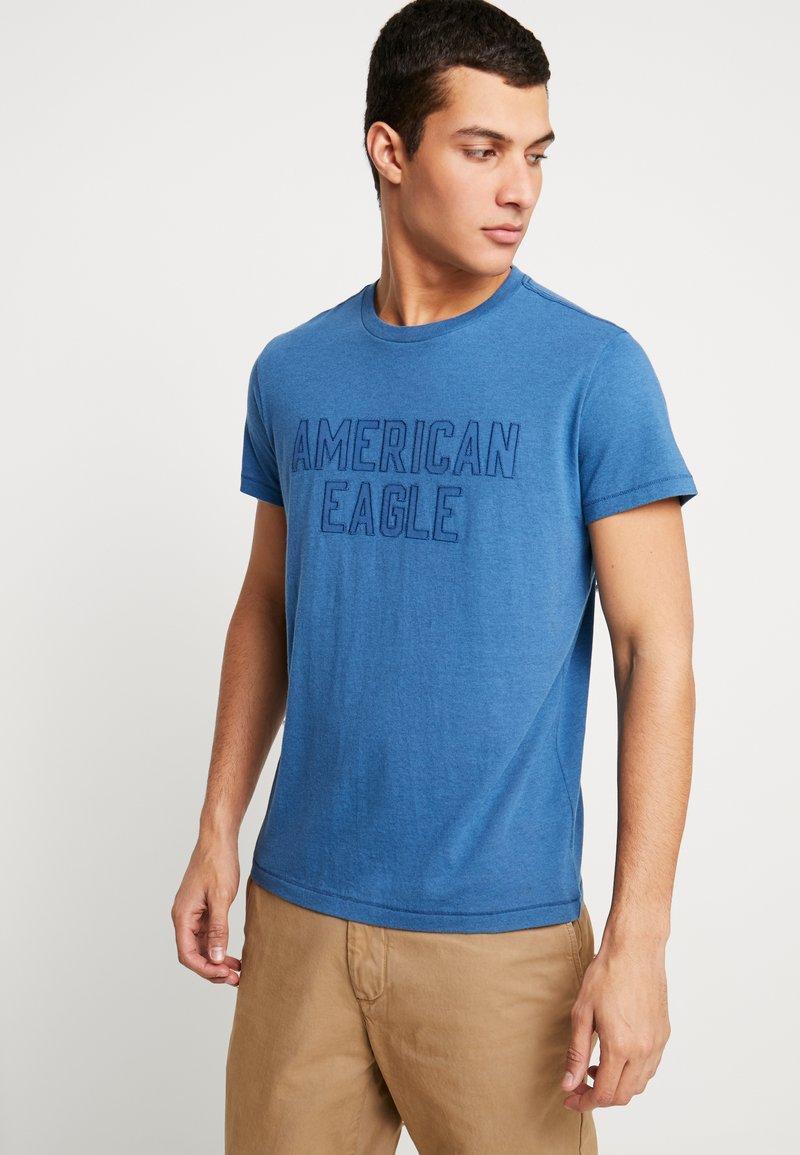 American Eagle - BITESTITCHING CLASSIC FIT - T-Shirt print - blue