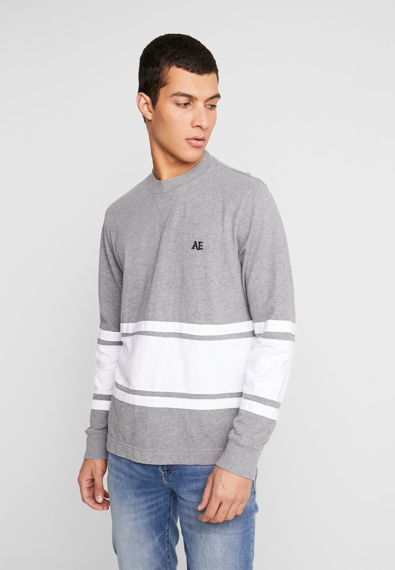 American Eagle - MOCK NECK PANEL - T-shirt à manches longues - medium grey heather/new white