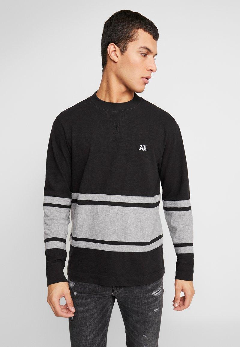 American Eagle - MOCK NECK PANEL - Langarmshirt - bold black/medium grey