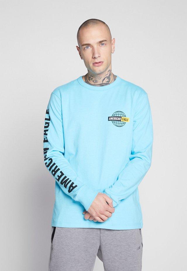 BOUND NECK TEE - Long sleeved top - light blue