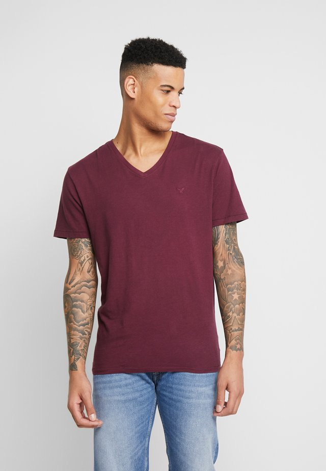SLUB VNECK - T-Shirt basic - burgundy