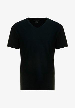 SLUB VNECK - Jednoduché triko - black