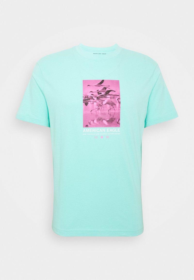 American Eagle - UNISEX SET IN TEE CORE BRAND - Print T-shirt - cream mint