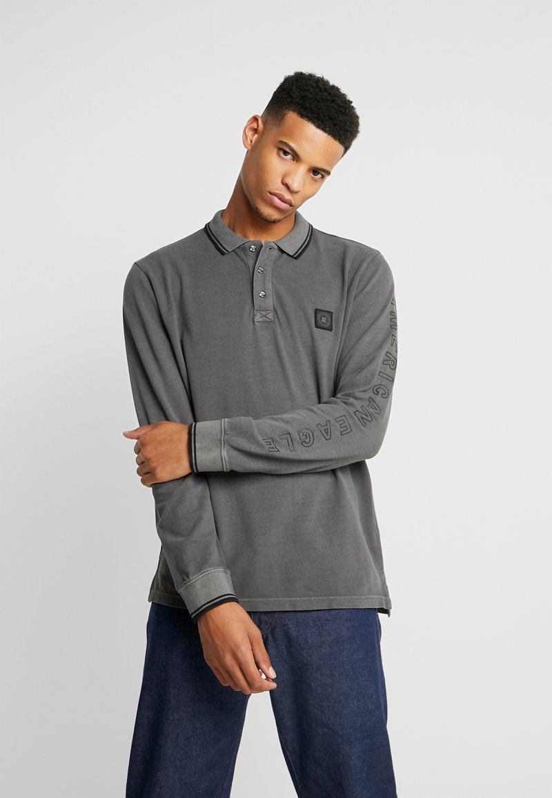 American Eagle - TIPPED  WITH GRAPHIC - Polo - dark grey