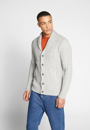 CABLE SHAWL CARDIGAN - Kofta - charcoal