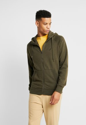 ZIP THRU HOODED - veste en sweat zippée - olive