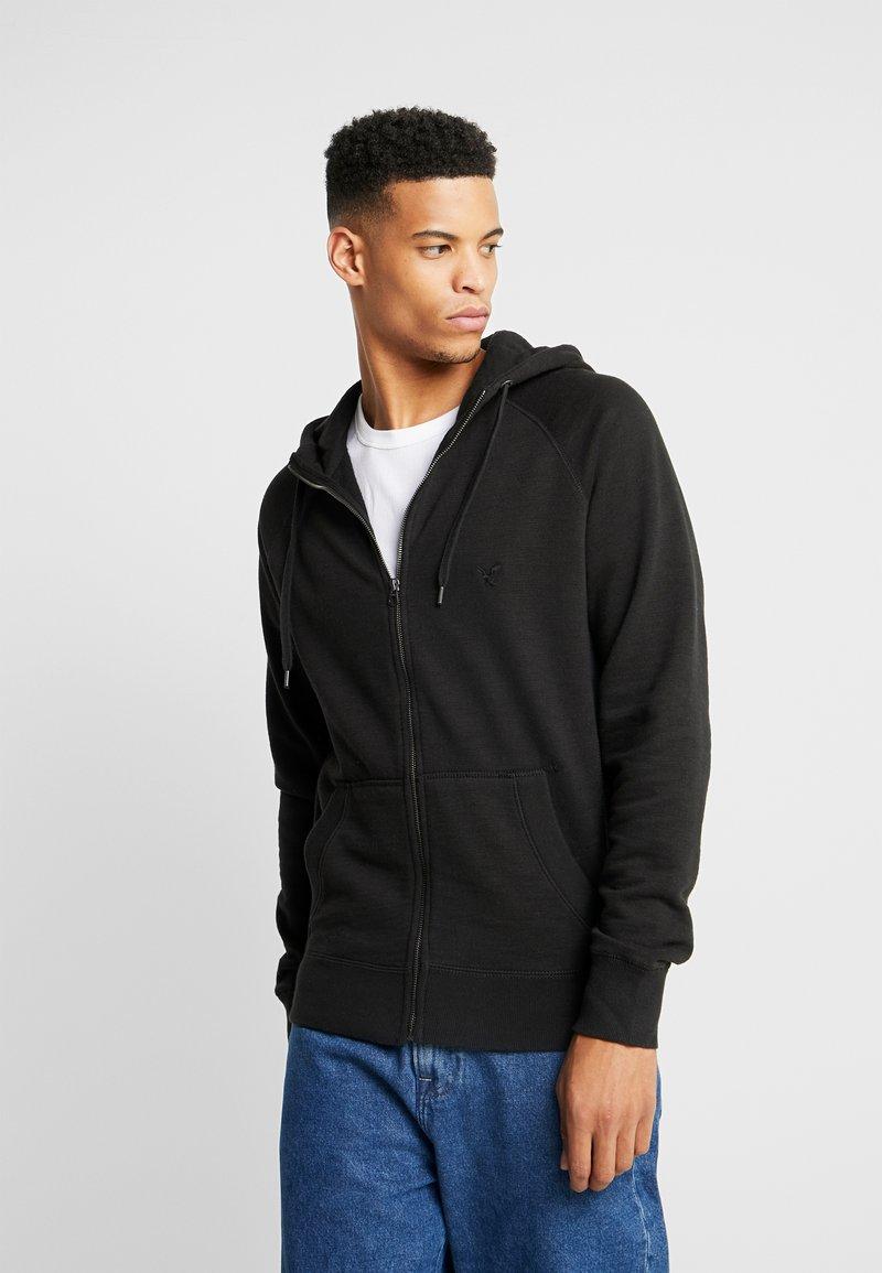 American Eagle - ZIP THRU HOODED - veste en sweat zippée - black