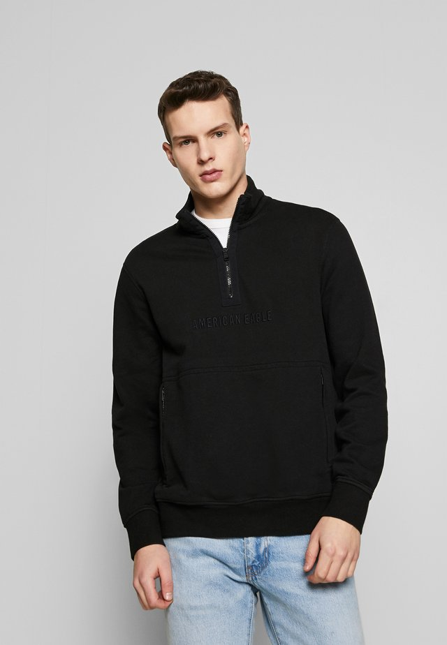 FUNNELNECK POPOVER WITH EXPOSED ZIP POCKETS - Sweater - black