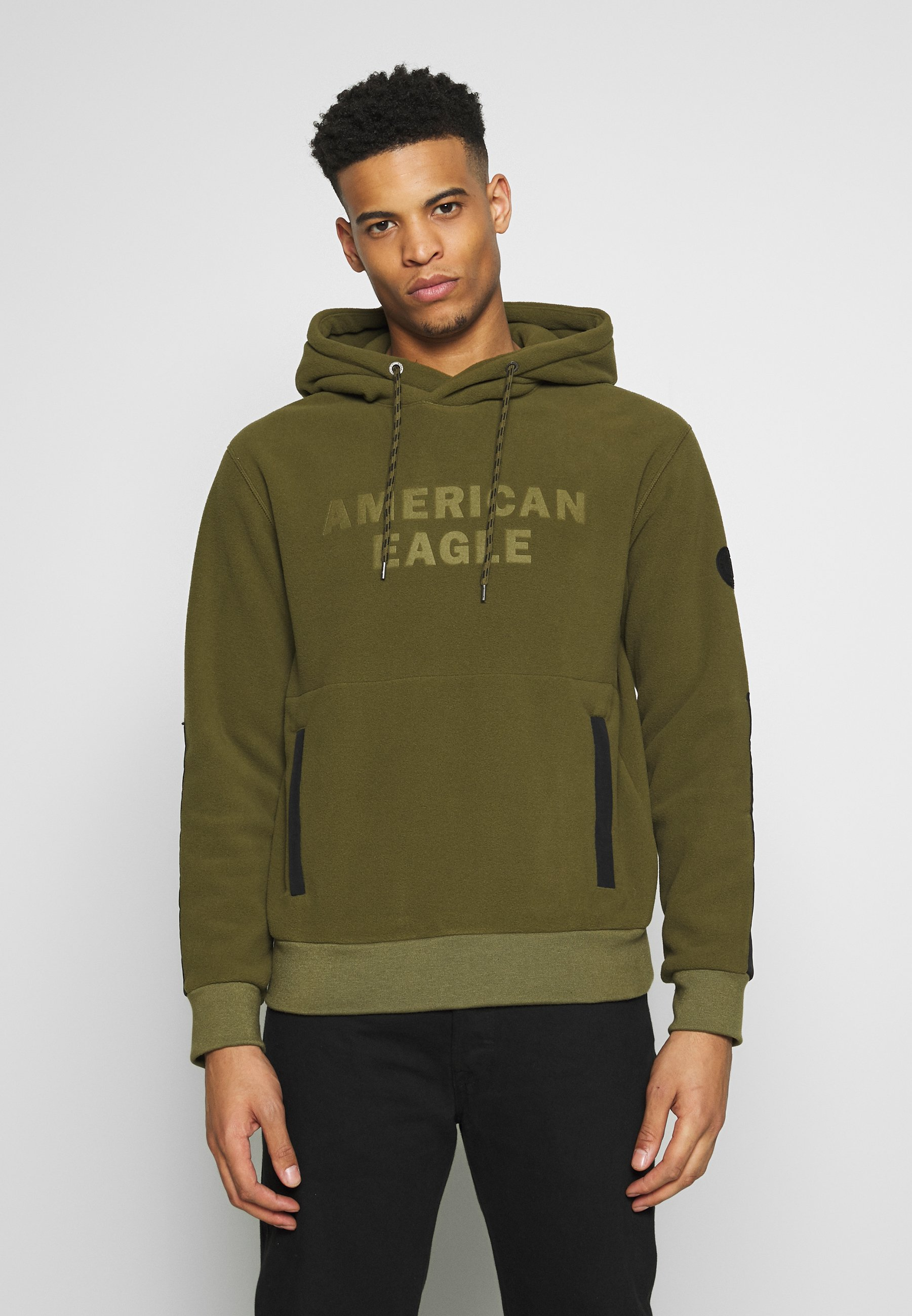 American Eagle POLAR HALF ZIP HOOD - Bluza z kapturem - green