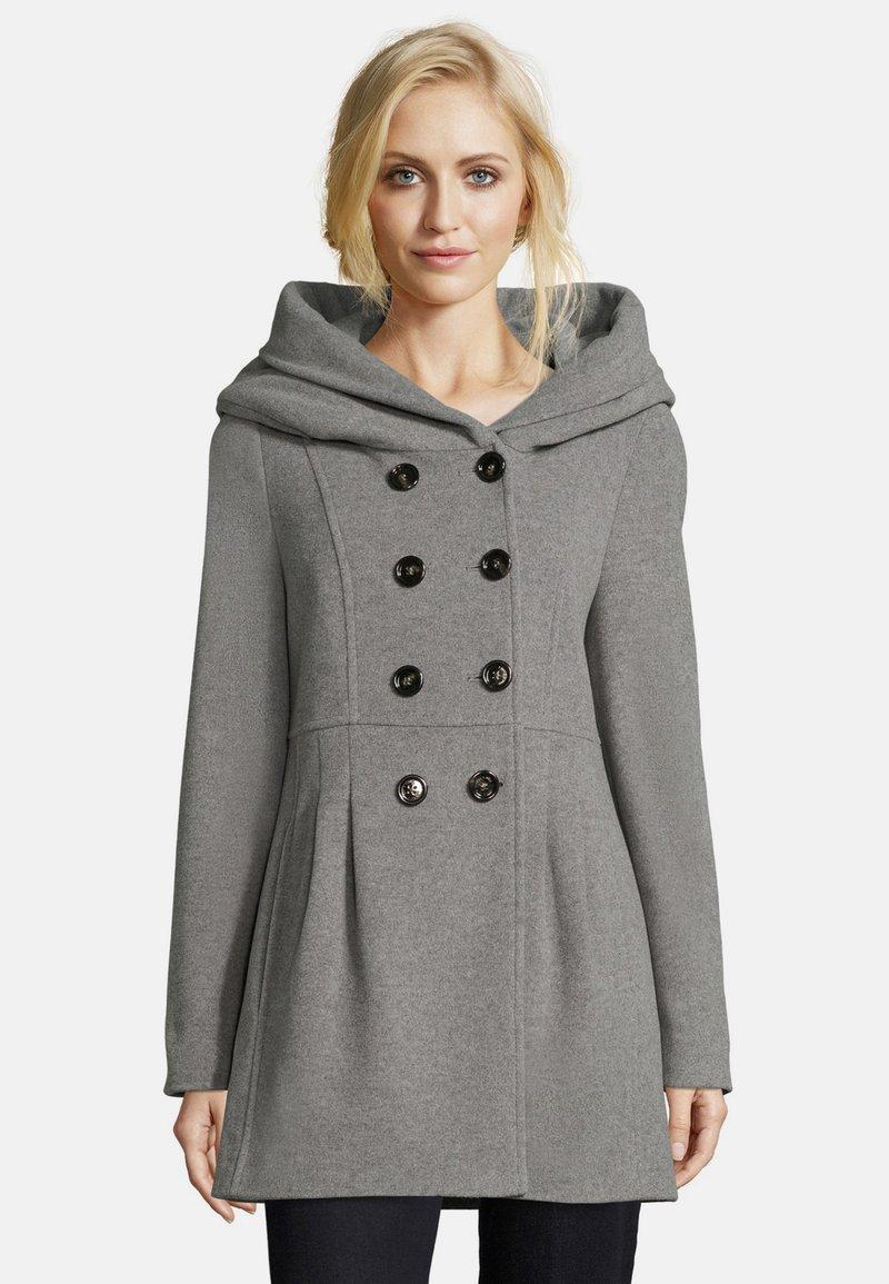 Amber & June - MIT KAPUZE - Short coat - grey melange