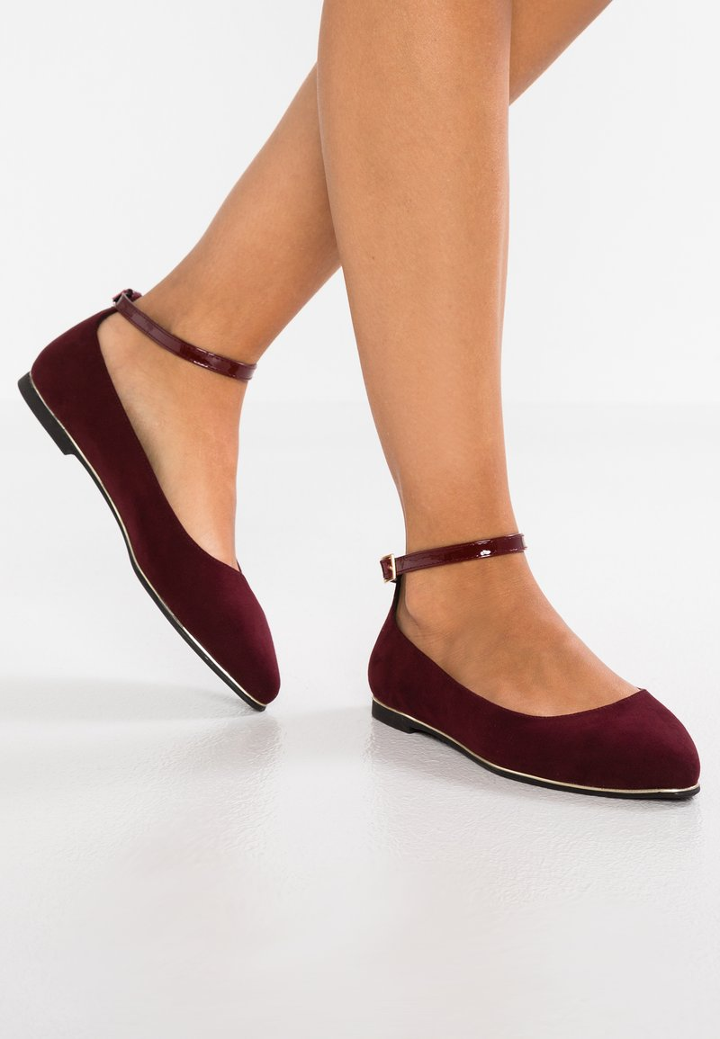 Anna Field - Ankle strap ballet pumps - bordeaux