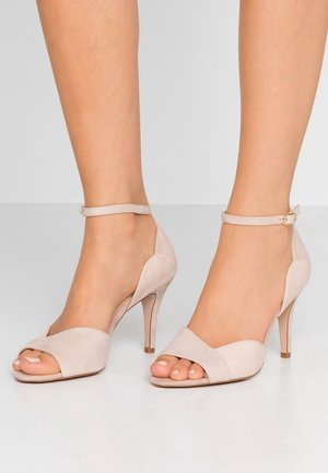 LEATHER HEELED SANDALS - Sandaletter - nude