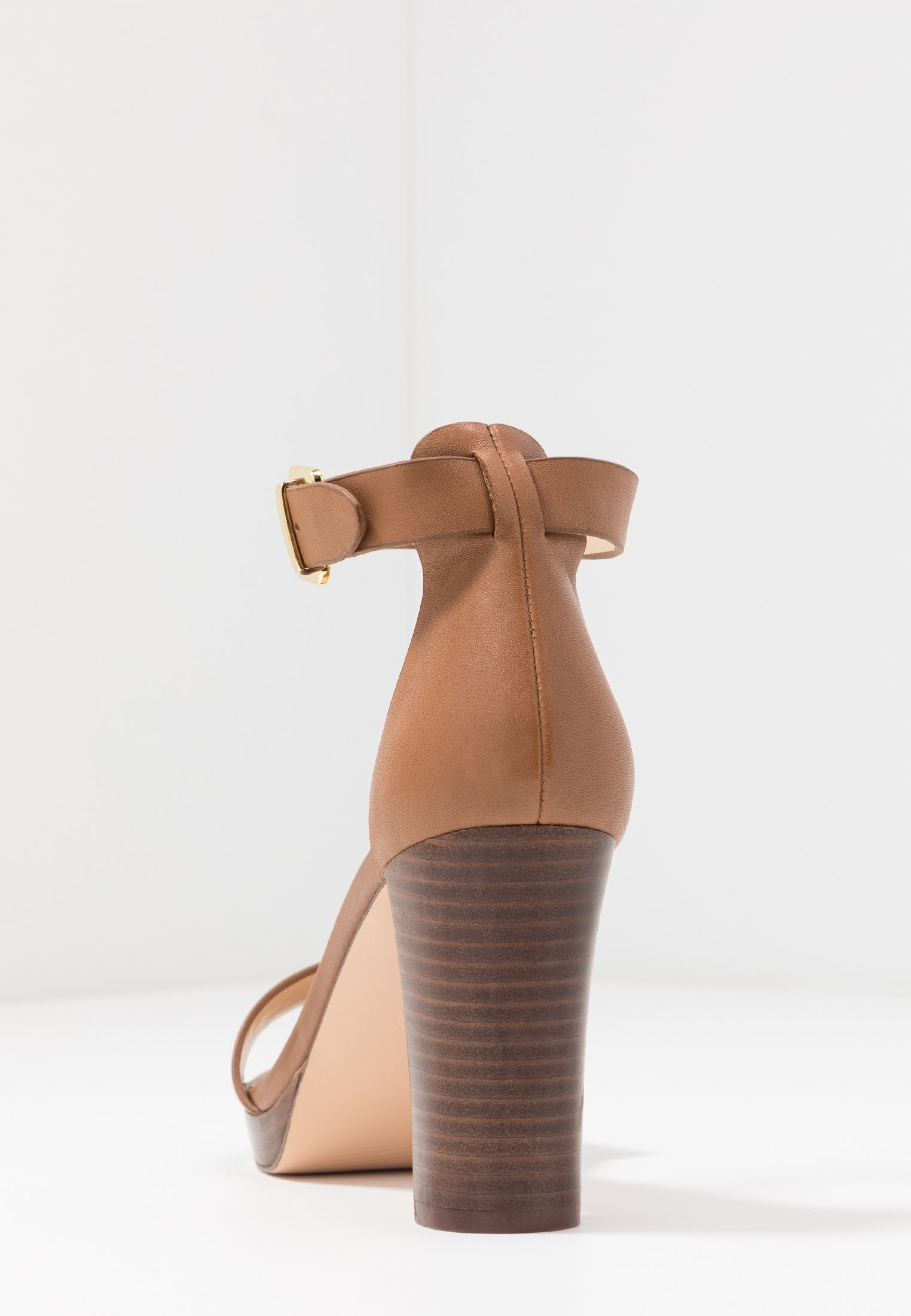 Anna Field LEATHER HEELED SANDALS - Sandały na obcasie - cognac