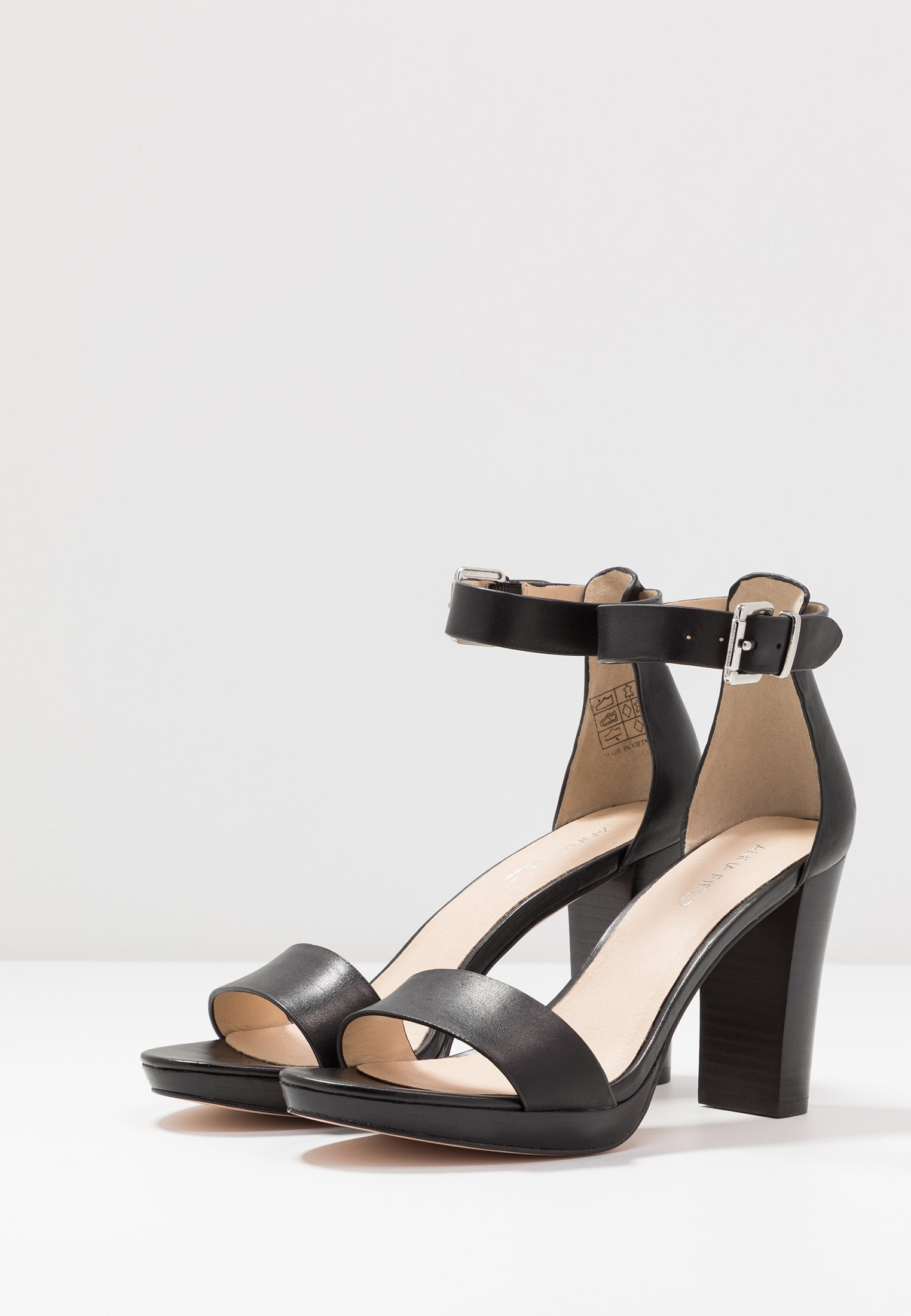 Anna Field LEATHER HEELED SANDALS - Sandali con tacco black