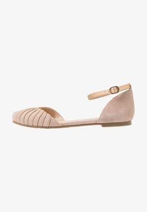 LEATHER ANKLE STRAP BALLET PUMPS - Baleríny s páskem - beige