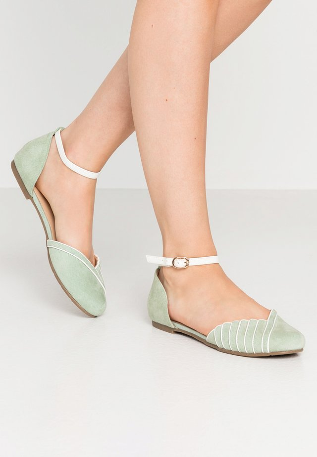LEATHER ANKLE STRAP BALLET PUMPS - Ankle strap ballet pumps - mint