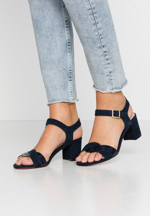 LEATHER HEELED SANDALS - Sandaler - dark blue