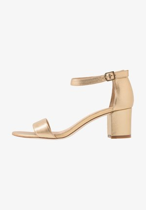 LEATHER HEELED SANDALS - Sandals - gold