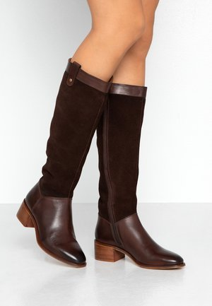 LEATHER BOOTS - Vysoká obuv - dark brown