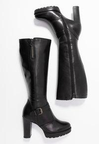 Anna Field - LEATHER BOOTS - Stivali con i tacchi - black - 3