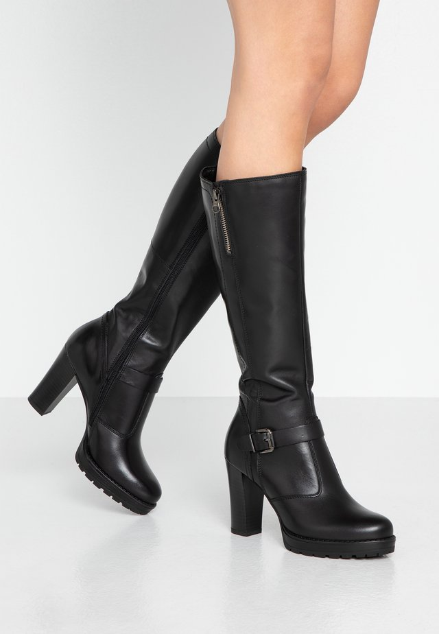 LEATHER BOOTS - High Heel Stiefel - black
