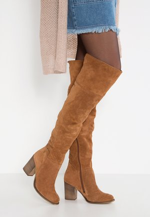 LEATHER OVERKNEES - Overkneeskor - cognac
