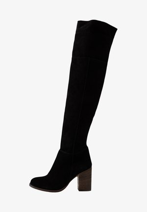 LEATHER OVERKNEES - Over-the-knee boots - black