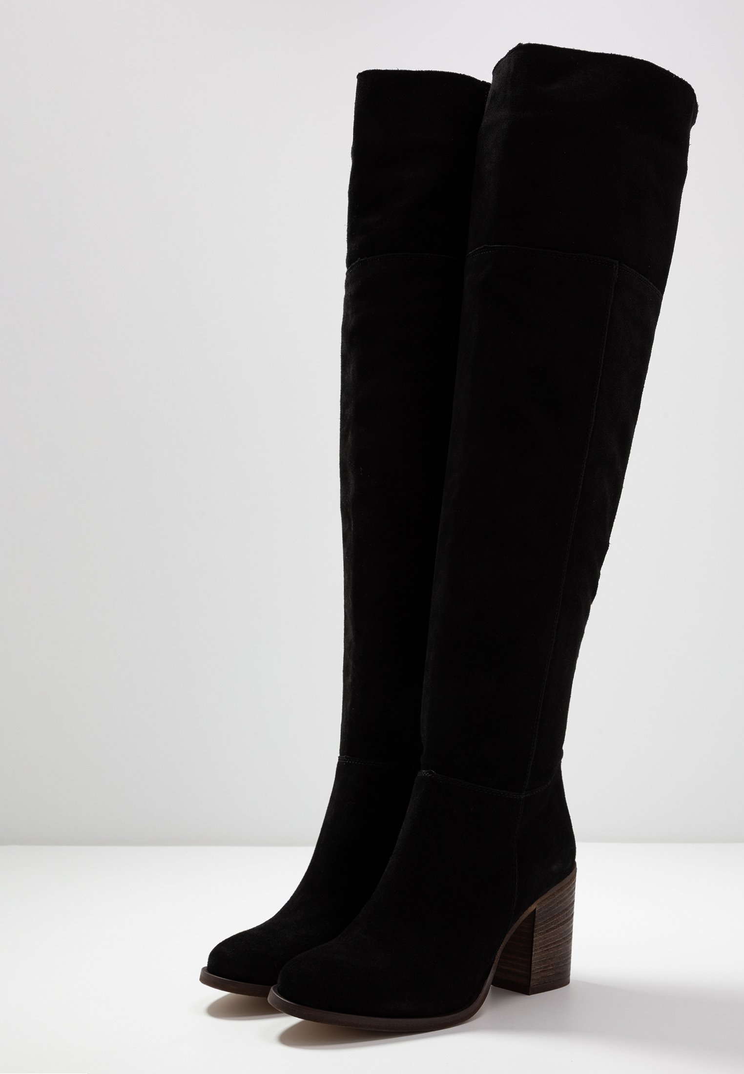 Anna Field LEATHER OVERKNEES - Over-the-knee boots - black