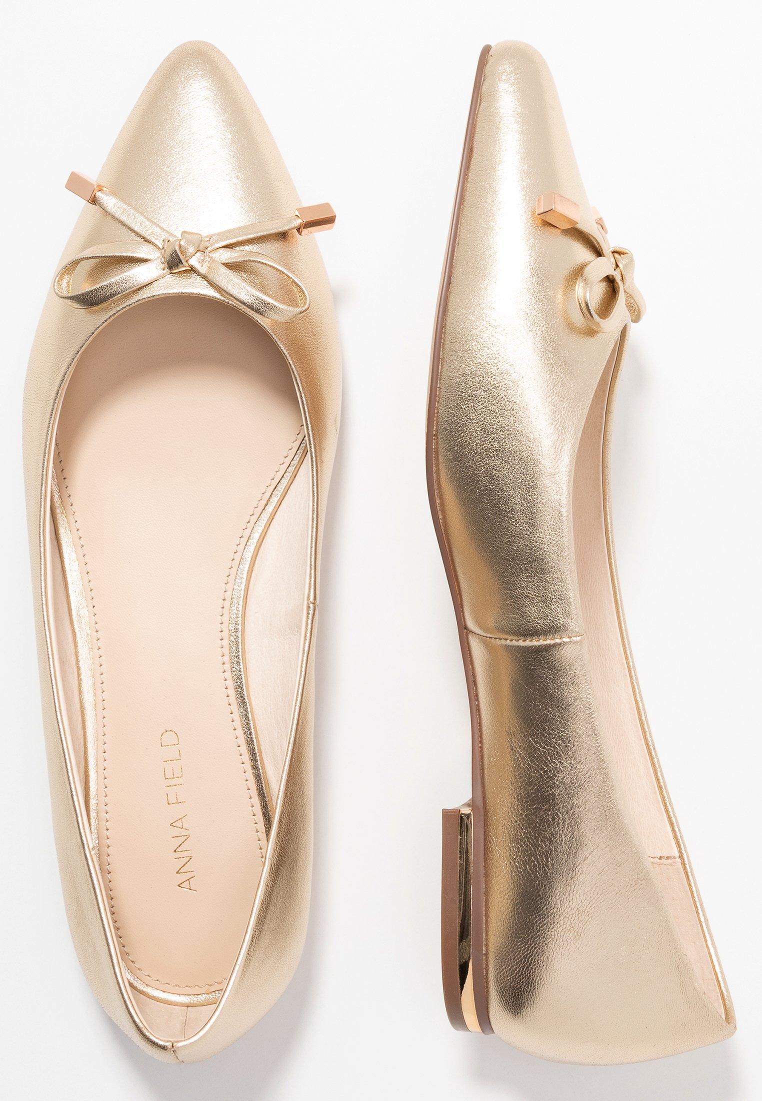 Anna Field LEATHER BALLERINAS - Ballerinasko - gold