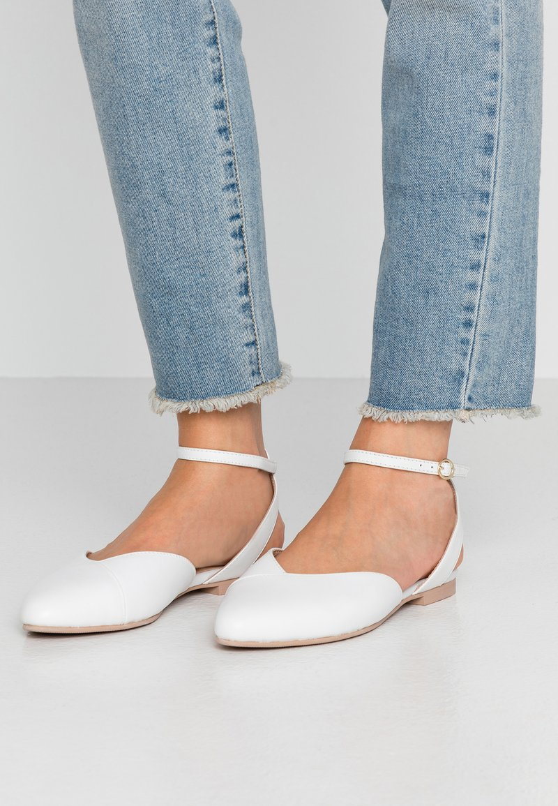 Anna Field - LEATHER  - Slingback ballet pumps - white