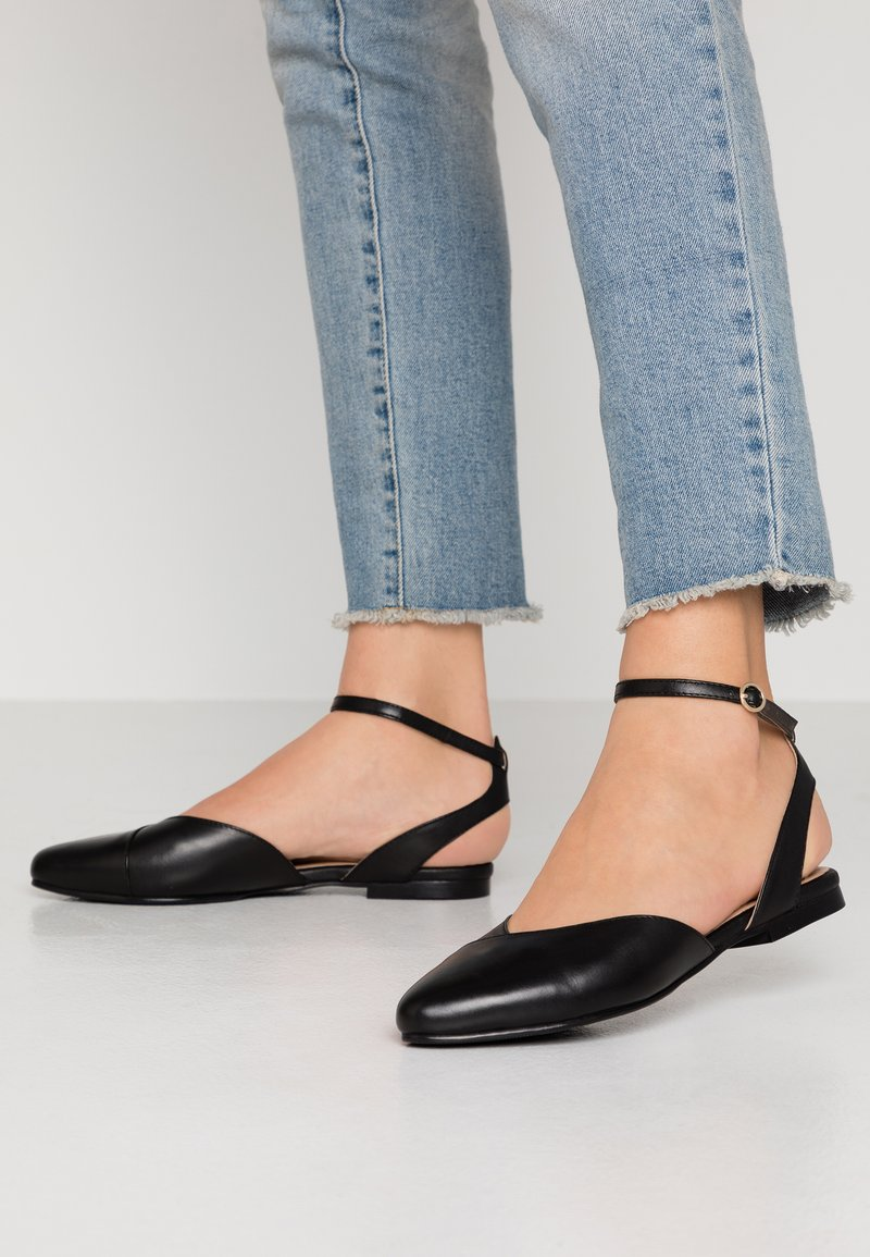Anna Field - LEATHER  - Slingback ballet pumps - black