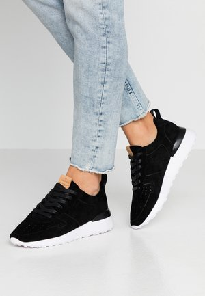 LEATHER SNEAKERS - Baskets basses - black