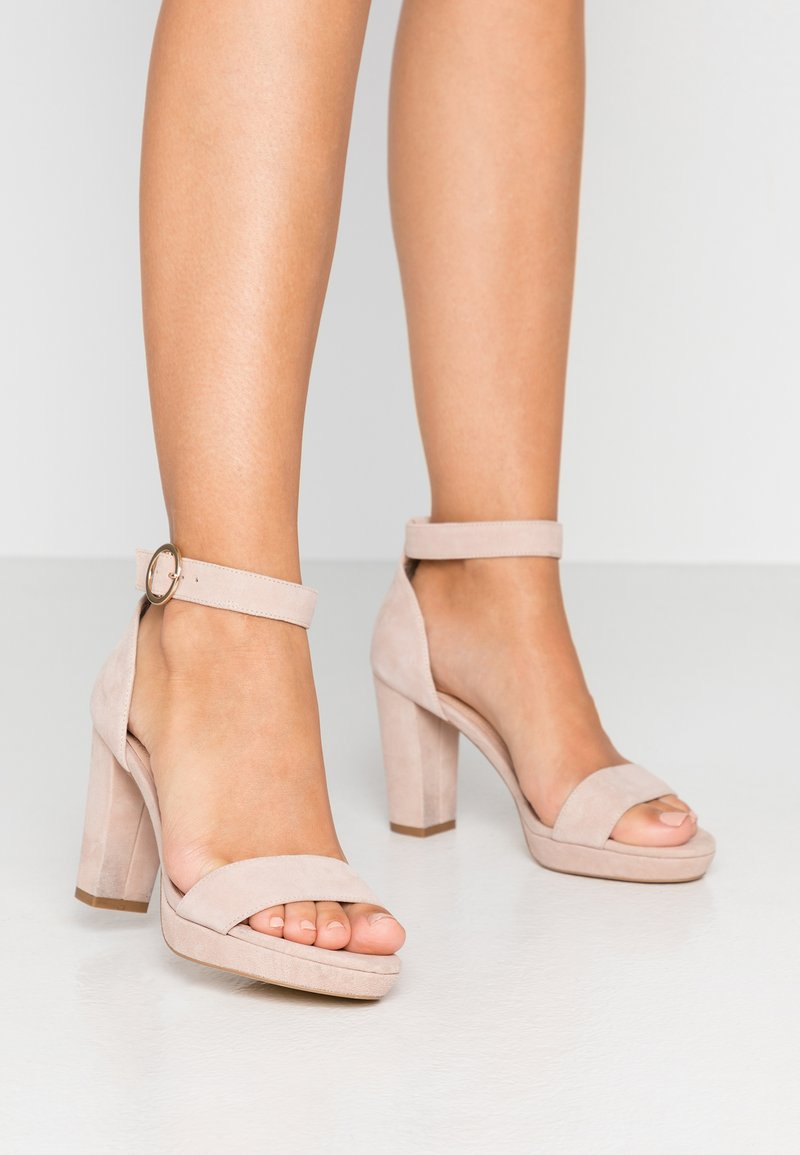 Anna Field - LEATHER HEELED SANDALS - Sandaler med høye hæler - nude