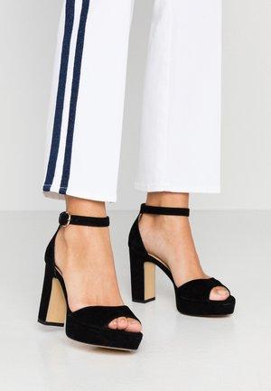 LEATHER HIGH HEELED SANDALS - High heeled sandals - black