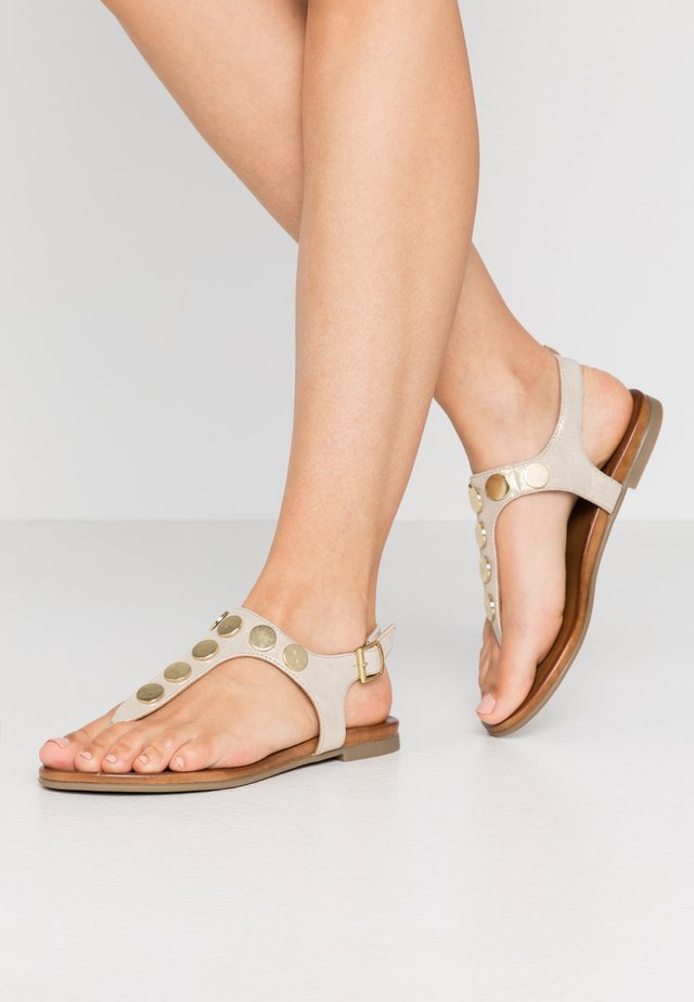 LEATHER - Sandalias de dedo - white/gold