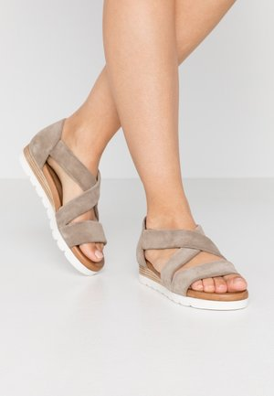LEATHER - Plateausandalette - beige