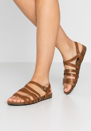 LEATHER SANDALS - Sandales - cognac