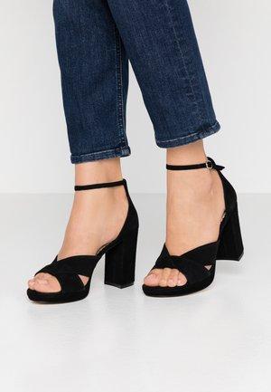 LEATHER HIGH HEELED SANDALS - Korolliset sandaalit - black