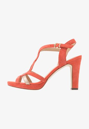 LEATHER HEELED SANDALS - High heeled sandals - coral