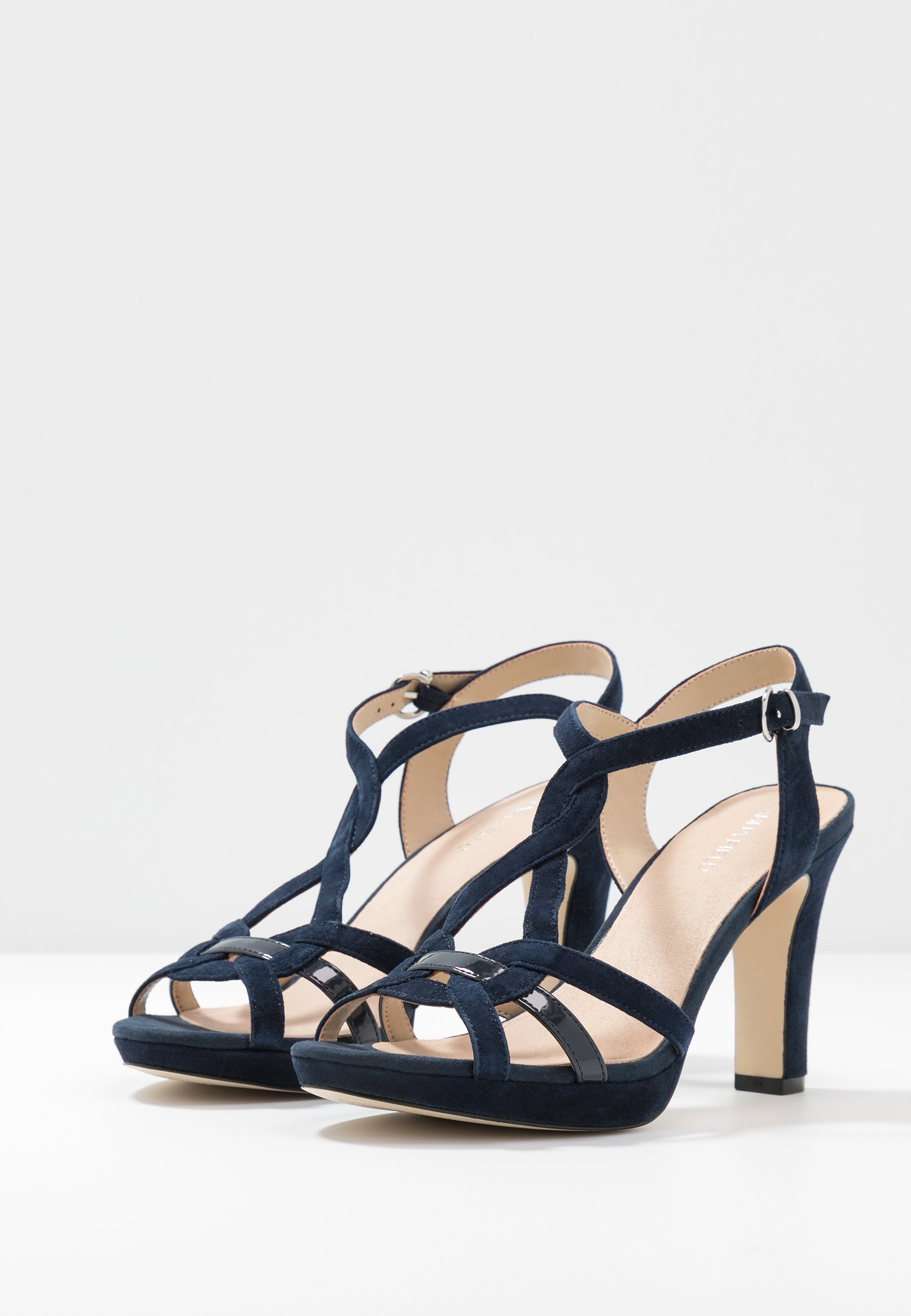 Anna Field Leather High Heeled Sandals - Sandaletter Dark Blue