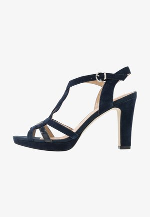 LEATHER HIGH HEELED SANDALS - Sandaler med høye hæler - dark blue