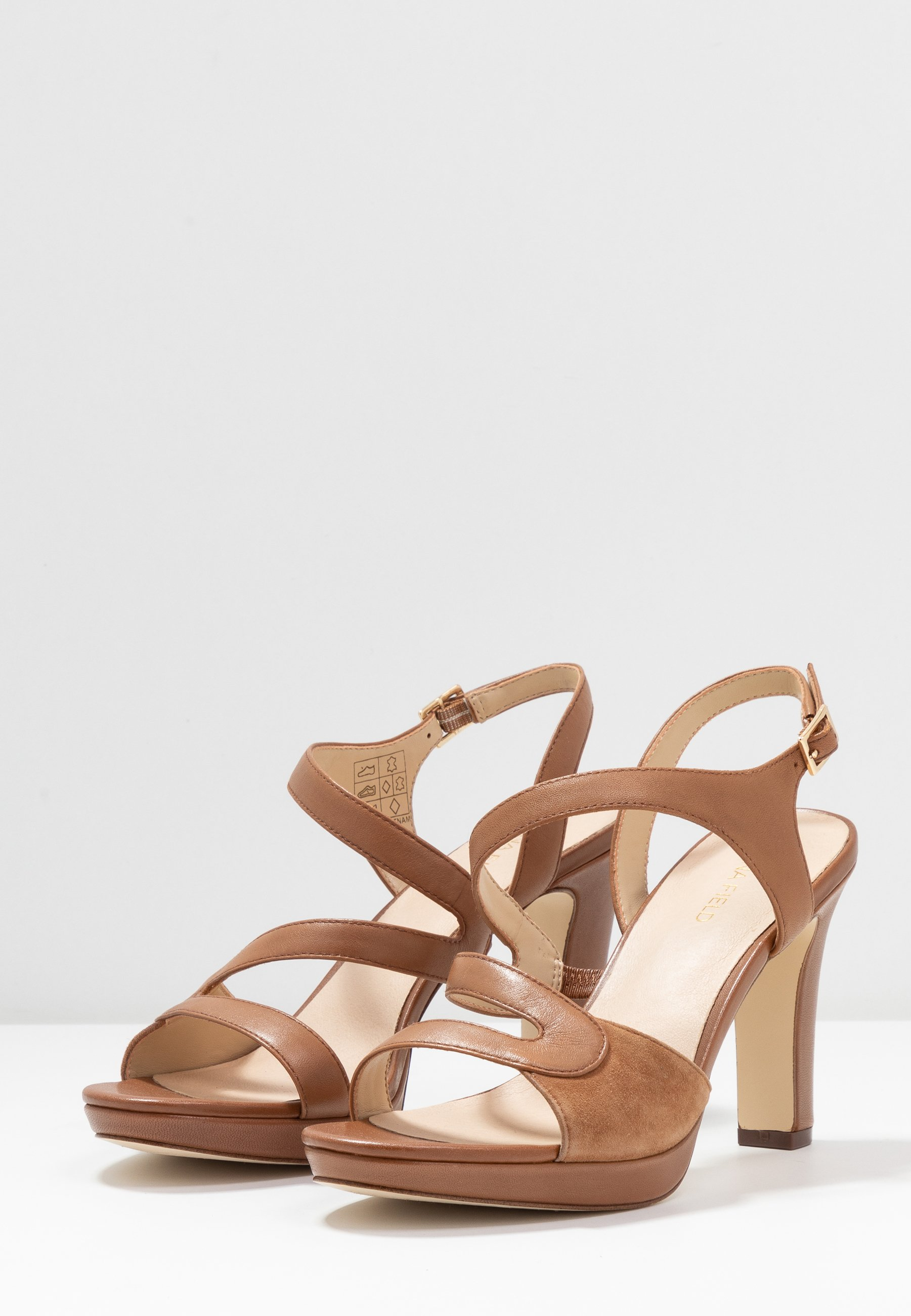 LEATHER HIGH HEELED SANDALS High Heel Sandalette cognac