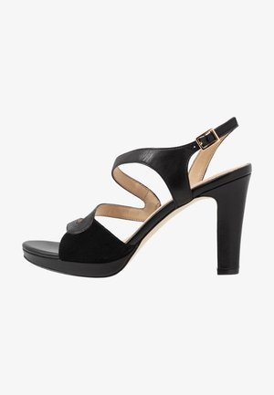 LEATHER HIGH HEELED SANDALS - Sandaler med høye hæler - black