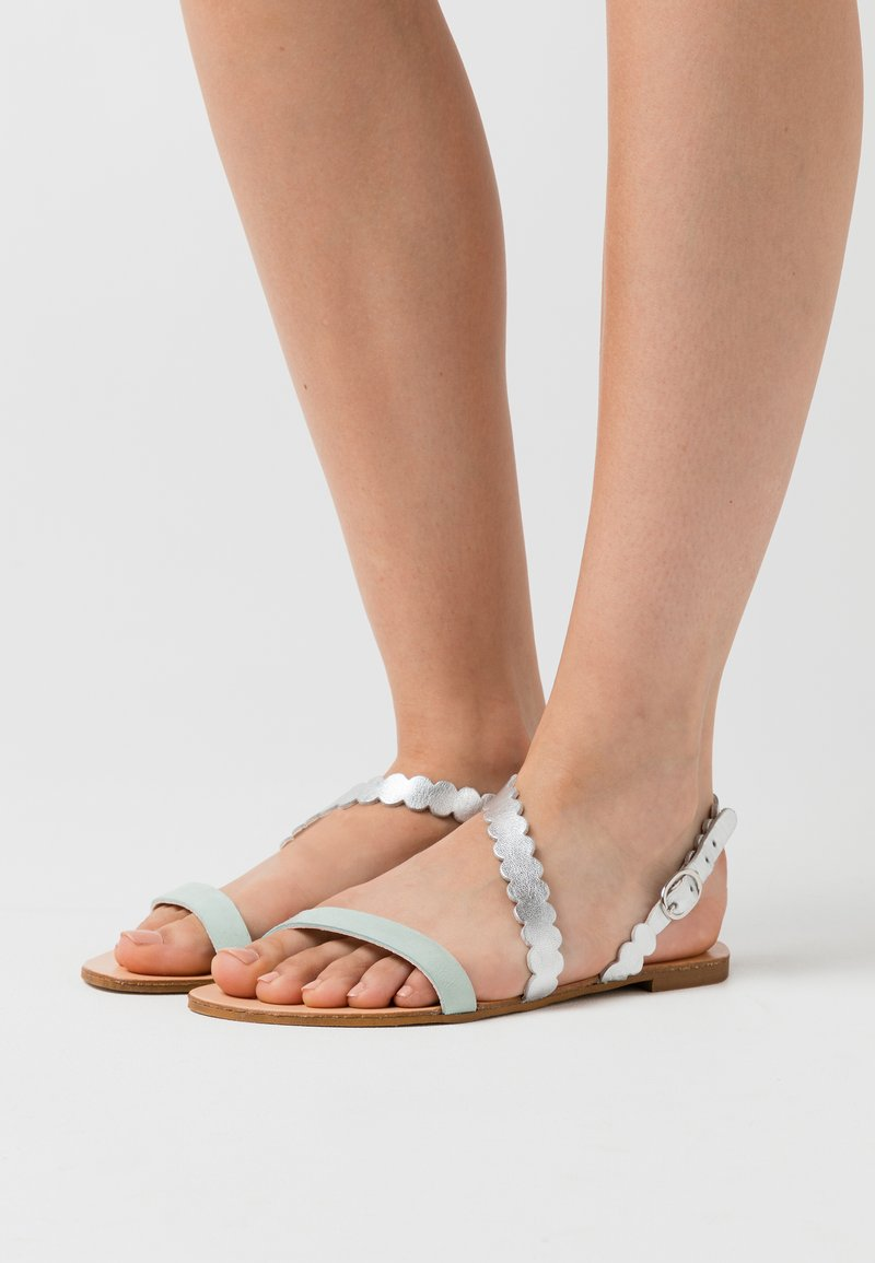 Anna Field - LEATHER FLAT SANDALS - Sandals - silver