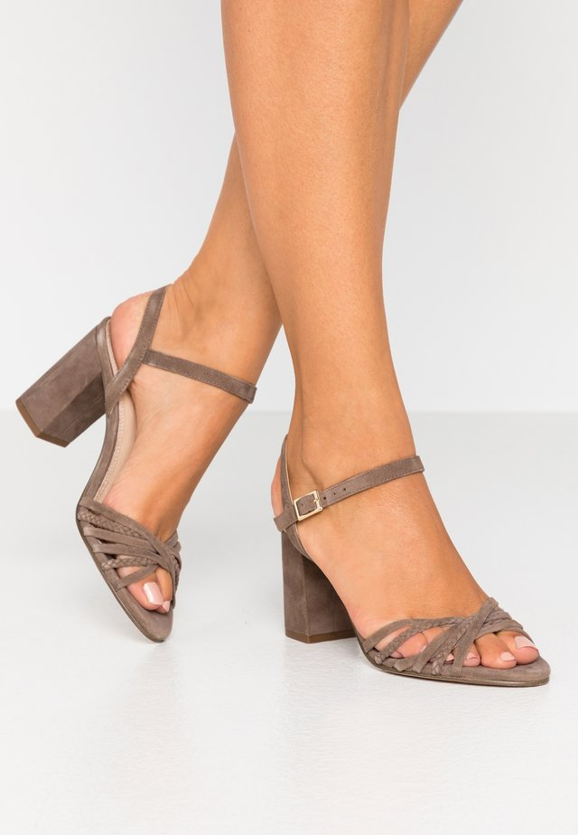 LEATHER - High heeled sandals - grey