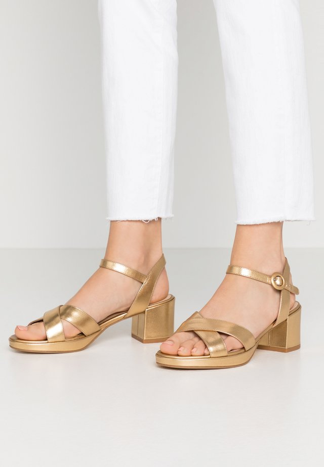 LEATHER - Platform sandals - gold